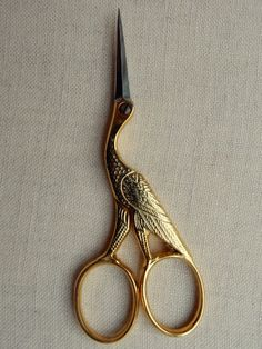 stork embroidery scissors by french master scissor maker Jean Marie Roulot, Nogent Vintage Scissors, Sewing Scissors, Embroidery Scissors, Scissors Design, Scissors Tattoo, Over The Garden Wall, Sewing Tools, Sewing Box, Oui Oui
