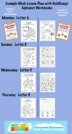 This is an example week's lesson plan with HeidiSongs' Alphabet Workbooks.  Click here to learn more about them.