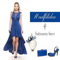#OutfitIdea Oggi vi proponiamo un #total #look #blu, un #colore tanto intenso quanto amato ed #elegante, soprattutto se abbinato ad #accessori originali come questo frontino, #clutch e #sandali della #collezione #FabianaFerrishoes&bags #2015