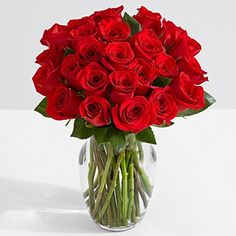 ProFlowers - 24 Count Red Two Dozen Red Roses with Glass Ginger Vase w/Free Clear Vase - Flowers - Valentine's Day Red Rose Arrangements, Square Glass Vase, Dozen Red Roses, Pots, Red Rose Bouquet, Order Flowers Online, Rose Vase, Beautiful Rose Flowers, Flower Delivery