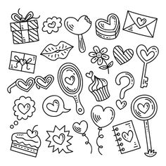 Doodles Bonitos, Love Doodles, Doodle Art Drawing, Doodle Lettering, Easy Drawings, Coloring Pages, Vector Free, Clip Art, Kawaii