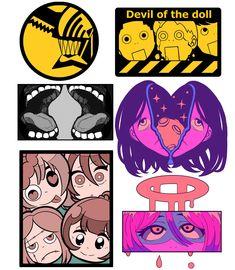 Anime Stickers, Cute Stickers, Tattoo Gato, Predator Art, Design Reference, Chainsaw, Aesthetic Art, Sticker Design, Ninja Outfit