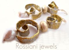 Sculpture earrings - Rossiani jewels made in Italy - handmade jewels pearls silver and aluminium