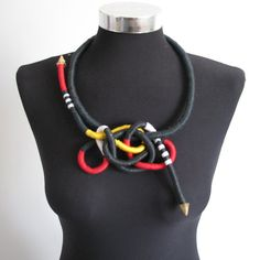 Necklace Colorful chains Unique-vax cotton by dalianir on Etsy