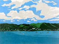 Approaching St. Thomas linocut relief print by MelissaNeesHauger