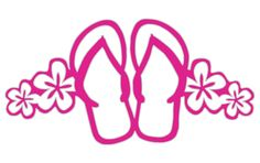This sticker has it all: the flip flops, palm trees and tropical flowers. Flower Silhouette, Silhouette Design, Vinyl Crafts, Vinyl Projects, Cricut Vinyl, Vinyl Decals, Stencils, New Sticker, Silhouette Portrait