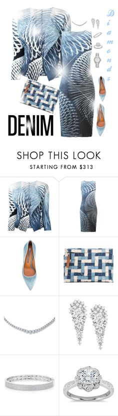 """Denim and Diamonds"" by scope-stilettos ❤ liked on Polyvore featuring Pleats Please by Issey Miyake, Ermanno Scervino, Loewe, Wrapped In Love, Anne Sisteron, Zac Posen and bürgi"