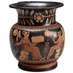 Ancient Greek Apulian Red-Figure Ceramic Olpe Wine Jug, 4th Century B.C. | From a unique collection of antique and modern antiquities at https://www.1stdibs.com/furniture/folk-art/antiquities/