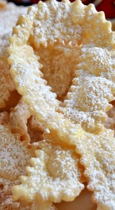 Frappe or Cioffe: Italian Bow Tie Cookies - 10 Best Italian Christmas Cookie Recipes - Easy Italian Holiday . Italian Cookie Recipes, Italian Cookies, Italian Desserts, Köstliche Desserts, Delicious Desserts, Dessert Recipes, Italian Bow Tie Cookies Recipe, Italian Wedding Cookies, Italian Foods