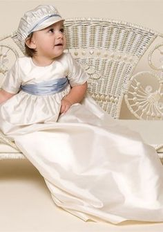Baby\'s Christening Gowns with Sash/ Ribbon in Charmeuse