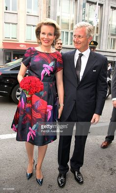 Queen Mathilde of Belgium and King Philippe of Belgium arrive for a prelude concert by the Belgian National Orchestra on the eve of Belgian National Day, on July 20, 2015 in Brussel, Belgium.