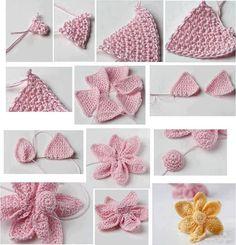bonjour une belle fleur pour décorer des chapeaux ou autre, le tuto est en image et bien explicite c'est faire 6 triangles puis les assembler en fronçant la base, et pour le milieu un petit rond à bourrer et placer au centre bonne journée à toutes