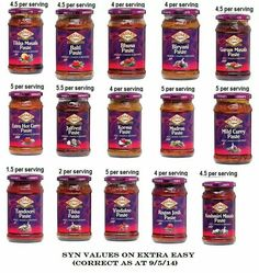 SW syns for pataks curry sauces