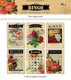 Digital romantic flower bingo cards 2 /  Valentine by KBandFriends. Gotta love these beautifully flowered cards!