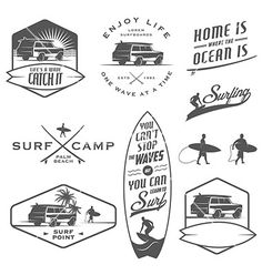 Set of vintage surfing design elements on VectorStock