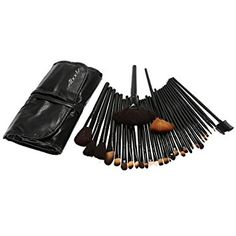 Anself - Set de cepillos de maquillaje de 32 piezas + Bolso Negro