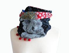"""Infinity boho scarf/ Neck scarf / snood French style scarf blend of velvet and cotton """"Mila"""" one of a kind  Col écharpe original pièce unique- pinned by pin4etsy.com"""