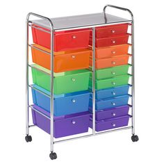 Stow office supplies in the library or sewing materials in the craft room with this castered organizer, featuring 15 multicolor drawers and a chrome-plated f...
