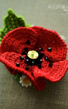 Garden Party. POPPY Pin/Headband Crochet Pattern/eBook -- not free  $3.50