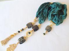 Emerald Green Silk Hamsa Gold Plated Gem Stone by sevinchjewelry, $60.00