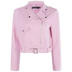 Jessica Suedette Biker Jacket ❤ liked on Polyvore featuring outerwear, jackets, motorcycle jacket, pink biker jackets, rider jacket, pink moto jacket and pink motorcycle jacket