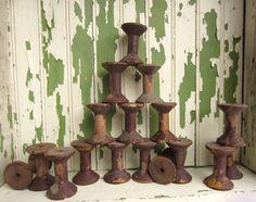 Vintage Wooden Spools Rustic Primitive Home Decor by corrnucopia, $50.00