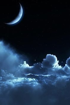 Moon and Clouds in the Night Sky. Beautiful Moon, Beautiful World, Stars Night, Night Clouds, Blue Clouds, Shoot The Moon, Sun Moon Stars, Moon Moon, Moon Pictures