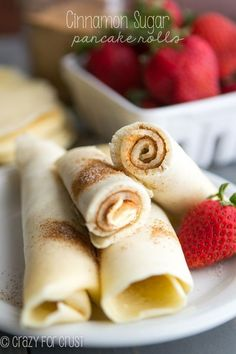 These Cinnamon Sugar Pancake Rolls are super easy to make and are the best at home or on the go breakfast for the whole family!