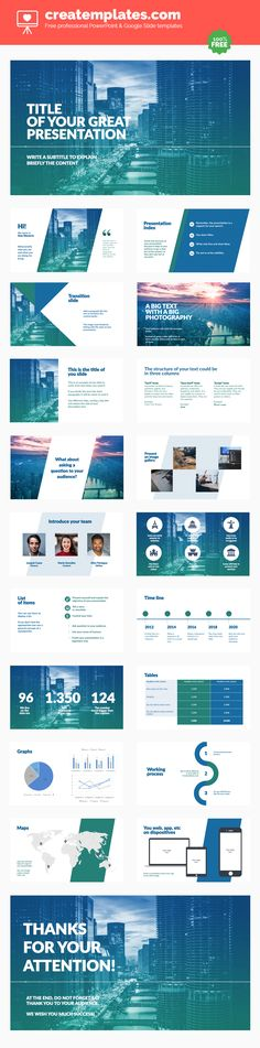 Business: Professional and free template for Powerpoint or Google Slides for your business. A template that will give a professional look to your business or project. It uses blue and green colors that transmit security and confidence and a clear and elegant design.
