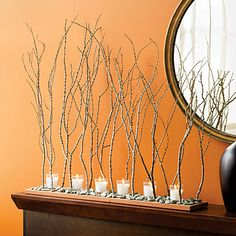 DECOR Table center piece idea. Tabletop twigscape  Create a mini forest for your table from clean branches and twigs.  Here, tree-like twigs edge a stream bed of green pebbles running down the center of a sealed 30-inch piece of redwood. *Skip the candles with birthday girl and the use of balloons.