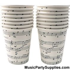 Sheet Music Cups - A classy design features music notes such as treble clef, sharps, quarter notes, and more! Set of 16. Approx. 9oz. Cups are plastic lined and suitable for hot or cold drinks!