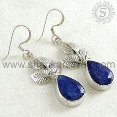 Fashion Women Style Flower Shape Sapphire Drop Earrings.