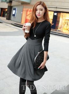 USD$ 14.99 Attractive New Arrival Falbala Hem Split Joint Long Sleeves Dress: tidestore.com