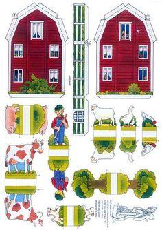 Bilderesultat for bastelbogen 3d Paper, Paper Toys, Paper Furniture, House Template, Diy Papier, Putz Houses, Glitter Houses, Farm Theme, Paper Houses