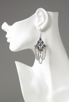 Rhinestone metal chain drape earring features:• Metal chain drapes• Hypo allergenic posts• Lead and nickel free