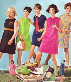 1968 fashions mid to late vintage fashion style shift dress brown orange belt empire waist school girl tie tab collar green sleeveless pink ruffle yellow floral hairstyles hat straw purse summer fall office day 60s And 70s Fashion, 60 Fashion, Retro Fashion, Fashion Dresses, Vintage Fashion, Fashion Images, 1960s Outfits, Vintage Outfits, Picnic Fashion