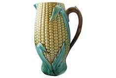 Antique Majolica Corn Quart Pitcher on OneKingsLane.com