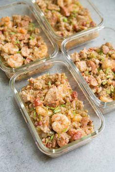 One Pot Jambalaya Meal Prep Meal Prep on Fleek™ - Paleo Rules Freezable Meal Prep, Paleo Meal Prep, Lunch Meal Prep, Paleo Dinner, Dinner Recipes, Jambalaya, Chicken Meal Prep, Chicken Recipes, Seafood Recipes