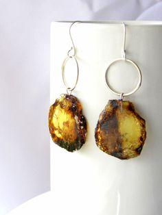Mexican amber earrings ~ Slice