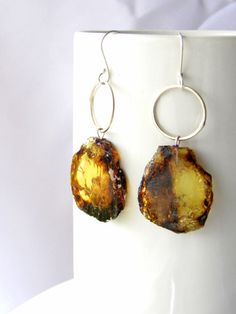 Mexican amber earrings ~ Slice
