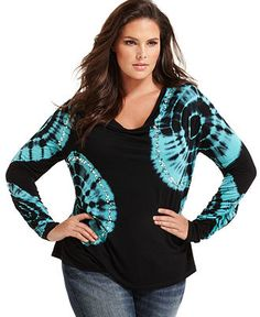 INC International Concepts Plus Size Top, Long Sleeve Tie Dye Embellished   Web ID: 636771