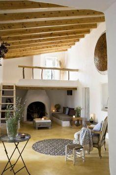 cob loft and fireplace.
