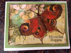 Handmade card/butterfly/miracles happen/napkin