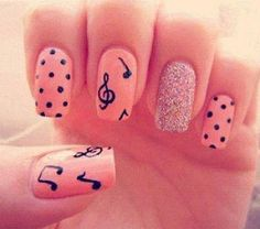 Nail Art with music notes, polka-dots & sparkle! This nail art is a combination of all 3 nail designs in one.sparkle nail polish on ring fingers and polka-dots & music notes w/treble clef on the other nails. Music Note Nails, Music Nail Art, Music Nails, Dot Nail Art, Polka Dot Nails, Polka Dots, Pink Nail, Art Music, Pink Glitter