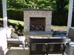 Gas Outdoor Fireplace, Small Outdoor Fireplace  Outdoor Fireplace  Environmental Construction, Inc.  Kirkland, WA