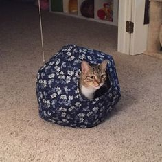 """This photo of a tabby cat inside our original Cat Ball� cat bed design, and the review, were left by an Etsy customer: """"My cat LOVES this! It's his go-to toy/hideaway"""" ................................ Etsy :: Your place to buy and sell all things handmade"""