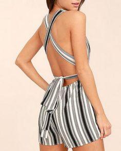 3530691c0a Black and white striped deep v neck romper criss cross backless for women  Long Sleeve Romper