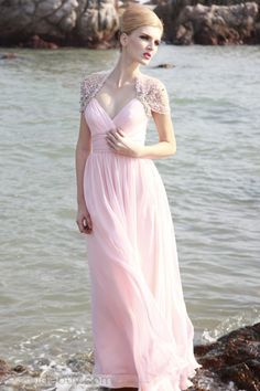 Brilliant Pale Pink A-Line V-Neckline Floor-Length Empire Waistline Prom Dress