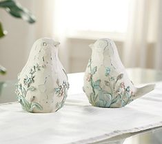 Set of 2 Birds with Embossed Floral Design by Valerie Clay Birds, Ceramic Birds, Valerie Parr Hill, Spring Scene, Spring Animals, Floral Garland, Clay Design, Queen Quilt, Baskets On Wall