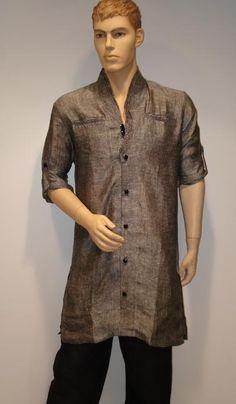 G3 Fashions Metalic Brown Linen Short Pathani Kurta  Product Code : G3-MSP1004 Price : INR RS 4395